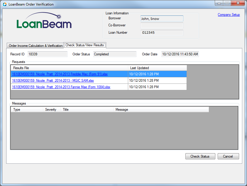 Getting the Results (Encompass) – LoanBeam Help Center